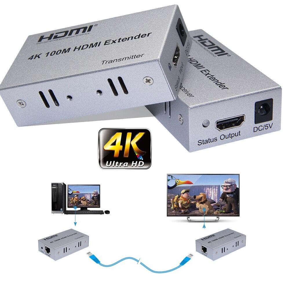 4K 30HZ 100M HDMI Extender Via Cat5e/6 CAT6 RJ45 Ethernet Lan câble 1080P 4K x 2K pour PS3 PS4 DVD lecteur ordinateur PC à TV HDTV