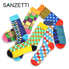 SANZETTI 5 Pairs/Lot Mens Combed Cotton Happy Socks Funny Colorful Stripe Geometric Novelty Casual Crew Dress Wedding