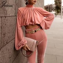 Joskaa 2020 New Women 2 Pieces Set High Collar Crop Tops Fashion High-waisted Skinny Pants Set Night Club Outwear