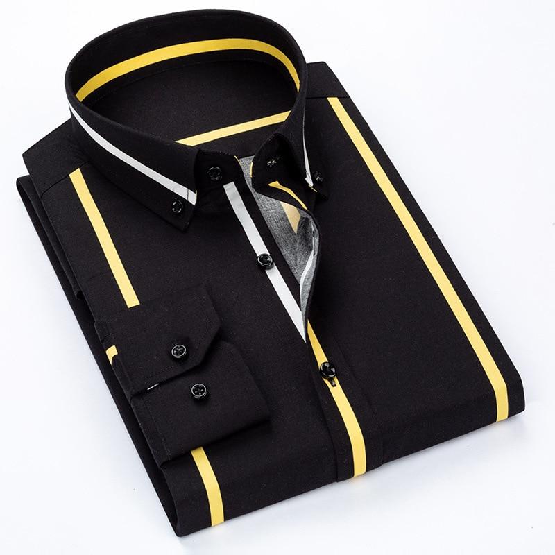 Качественные Роскошные весенние полосатые повседневные мужские рубашки с длинными рукавами, мягкие удобные мужские приталенные Формальны...