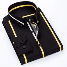 Qualidade de luxo primavera listrado casual camisas de manga comprida dos homens macio confortável vestido magro ajuste social formal camisas
