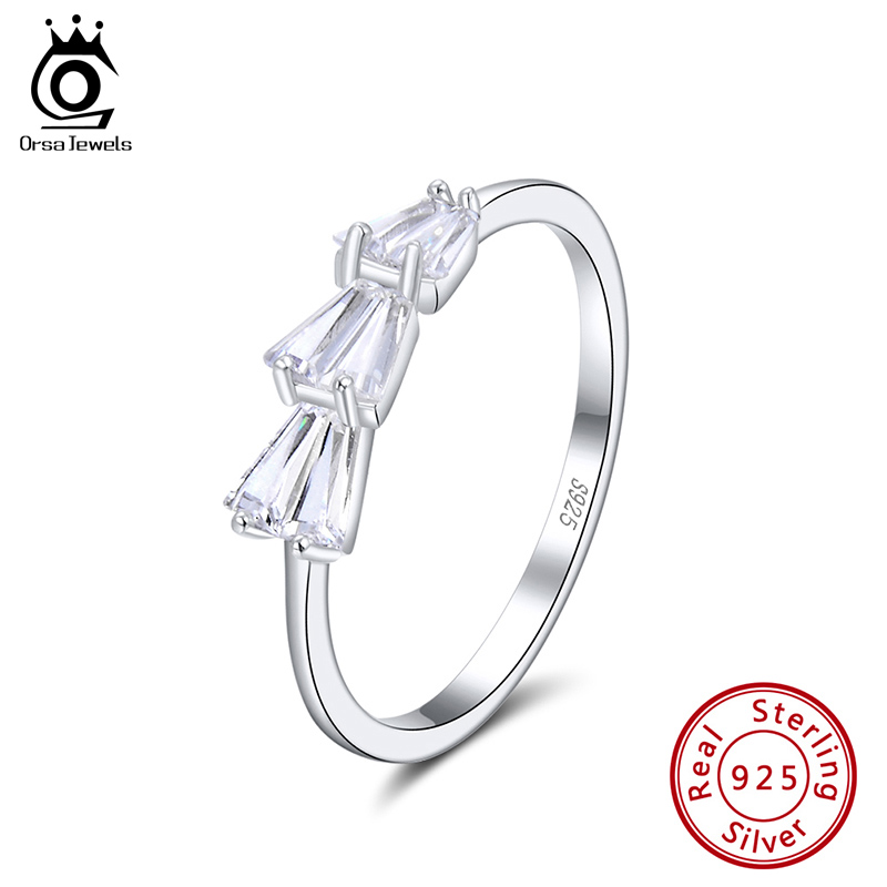 ORSA JEWELS Newest 925 Silver Women Irregular Rings AAAA Cubic Zirconia Personality Genuine Rings Engagement Party Jewelry SR149