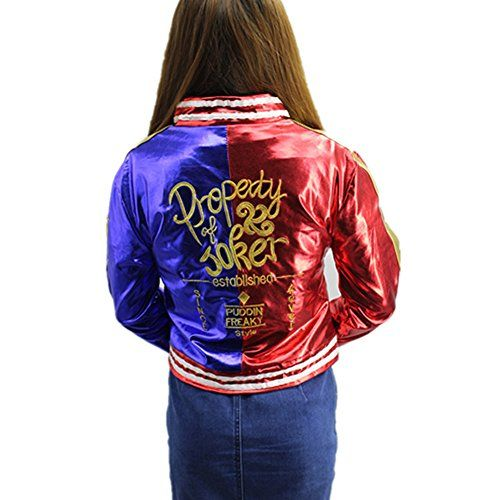 WXCTEAM Harley Quinn Jacket Costume Joker Property Cosplay Embroidery Jacket Coat (Asian M, Red)