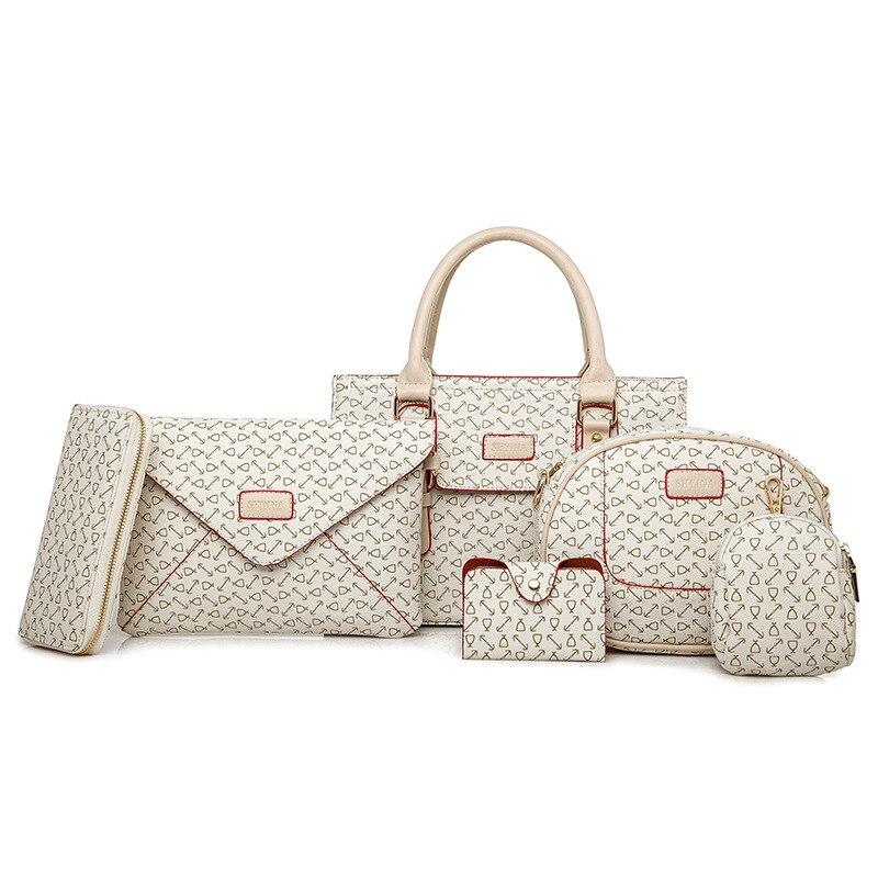 Luxury Handbags Women Bag 6Pcs/Set Designer 2019 Purses and Handbag 6 Pieces Shoulder Bags Female Bolsa Feminina Composite bag