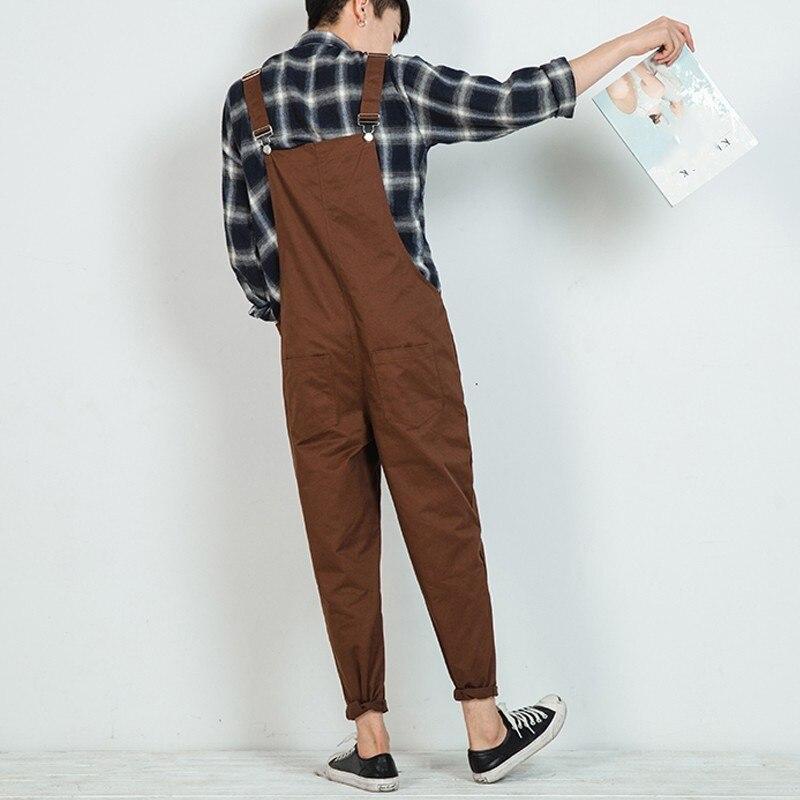 Harajuku Retro Mens Jumpsuits Loose Harem Pants Cotton Comfort Pockets Full Length Mens Trousers Casual Overalls Pantalon Hombre
