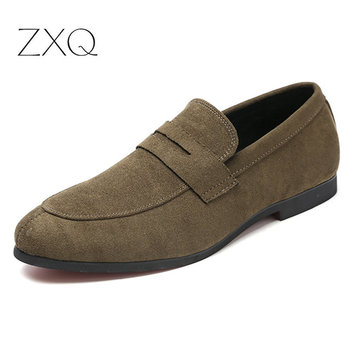 Big Size 38-48 Men Casual Suede Leather Loafers Black Solid Leather Driving Moccasins Gommino Slip On Moccasins Shoes