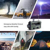 Radio portátil con manivela AM, Radio FM NOAA, 3 en 1 Lámpara de lectura, linterna, carga Solar, batería externa de 2000mAh para teléfono móvil