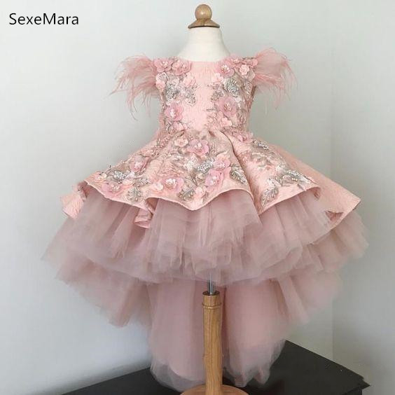 Beautiful High Low Pink Flower Girls Dresses Fur Appliques Lace Communion Dresses Girls Pageant Gown Kids Clothes For Birthday