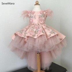 Schöne High Low Rosa Blume Mädchen Kleider Pelz Appliques Spitze Kommunion Kleider Mädchen Festzug Kleid Kinder Kleidung für Geburtstag