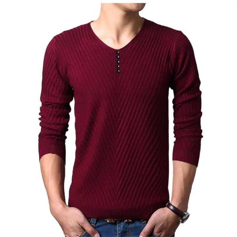 Spring Autumn Pullovers Man Casual Wear V Neck Solid Men's Sweaters Korean Fashion Black Wine Red Solid Color Knitted Sweaters