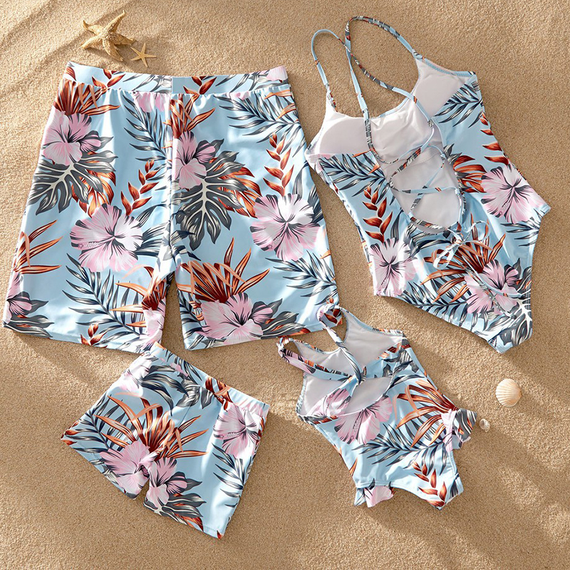 2020 New Family Look Mother Daughter Beach Bikini Swimsuits Mommy Dad And Me Matching Clothes Father Son Swimwear Shorts