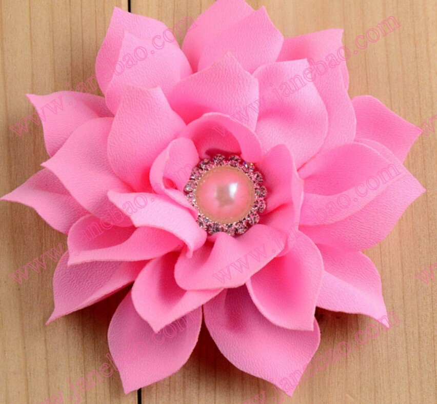 Free Shipping 30pcs 3 Fabric Lotus Flowers Clips With Diamond