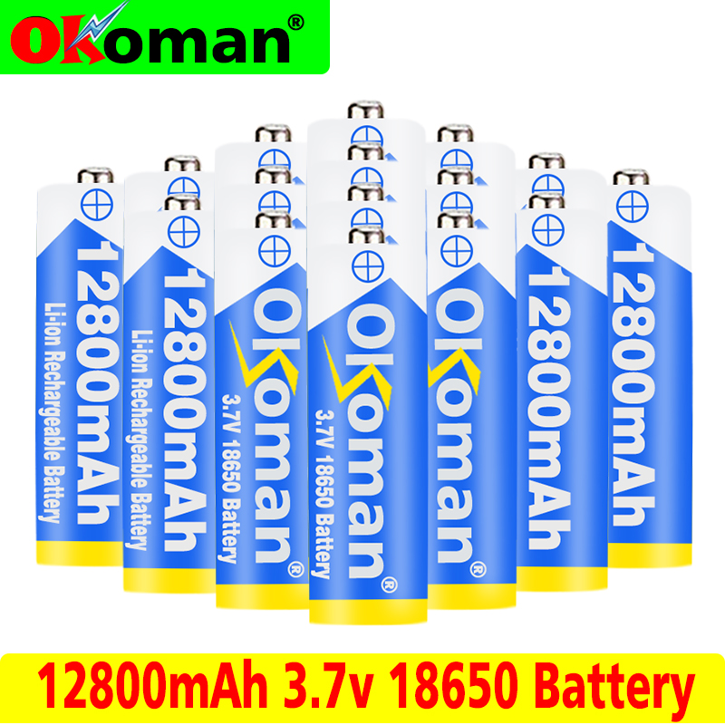 1/10pcs 18650 Li-ion Batteria 12800mAh Capacity 3.7V Rechargeable Battery for LED Torch Flashlights Torch Batteries 18650 Cells