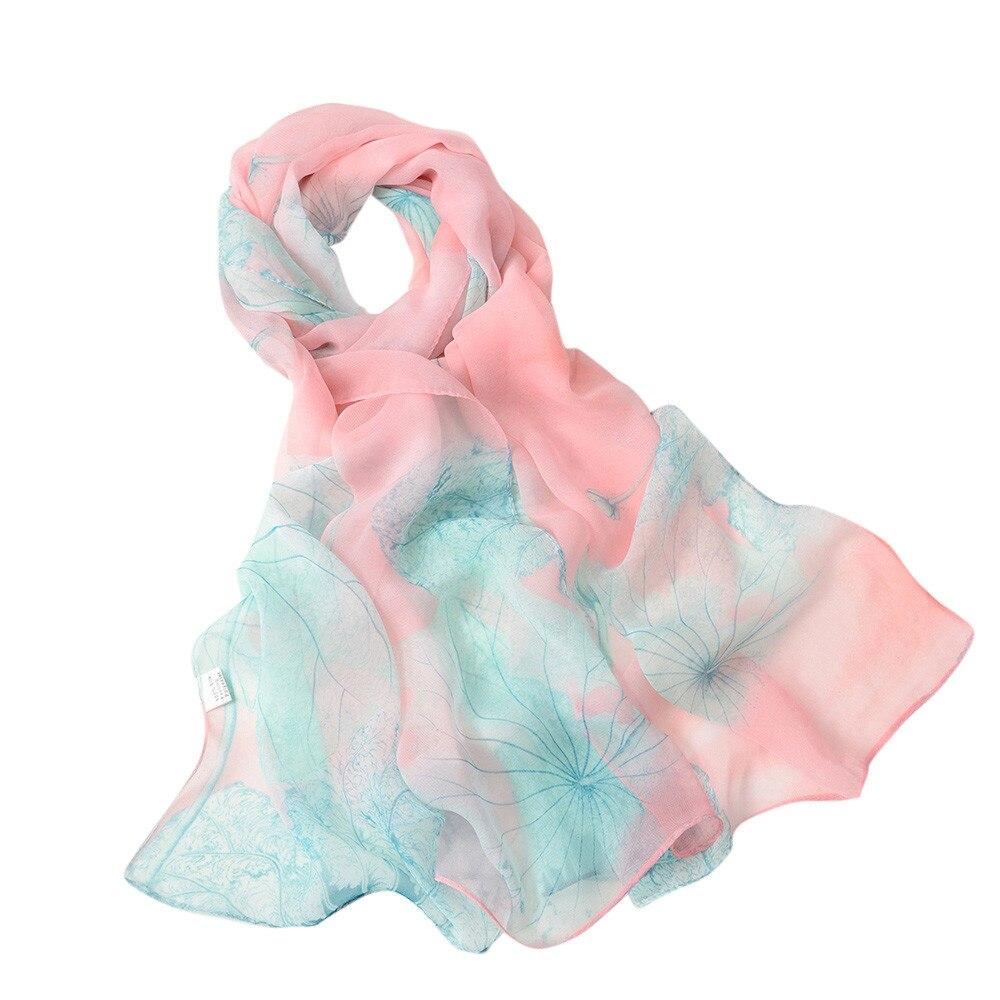 Fashion Women Lotus Printing Long Soft Wrap Scarf Ladies Chiffon Silk Shawl Scarves Lady Winter Warm Scarf Echarpe Hiver Femme
