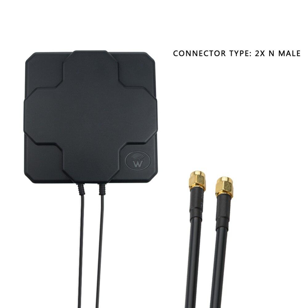 2 * 22dBi exterior 4G LTE MIMO antena, LTE doble polarización panel antena SAM-Macho conector Antena WIFI 3G 4G LTE, 2 uds., antena de parche, 700-2700MHz, 12dbi SMA macho, cable de extensión de conector 3 5M para enrutador de módem