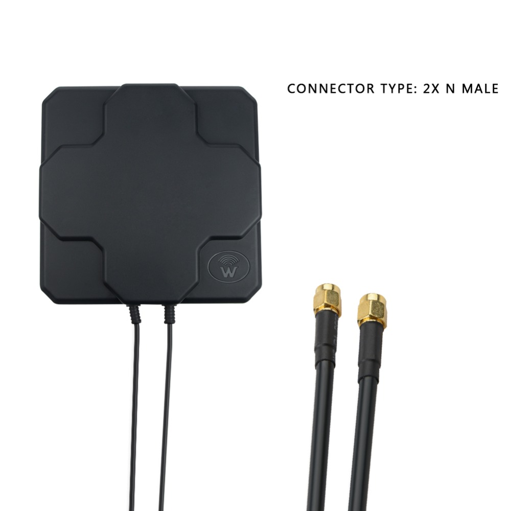 2*22dBi Outdoor 4G LTE MIMO Antenna,LTE Dual Polarization Panel Antenna SAM -Male Connector