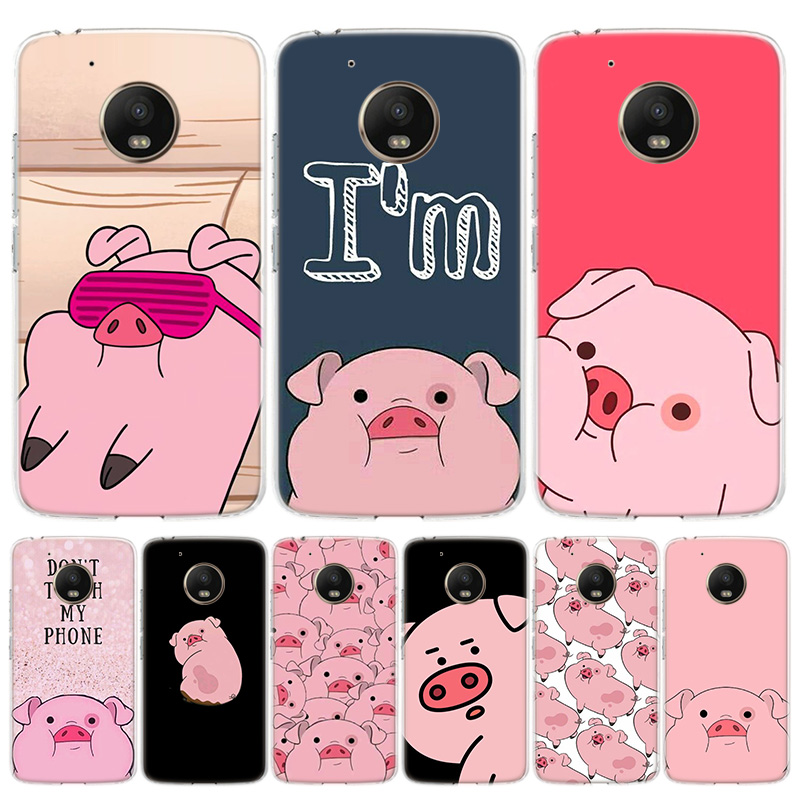 Cute PINK Kawai Pig Phone Case For Motorola Moto G7 G8 G6 G5S G5 E6 E5 E4 Plus Power G4 One Action X4 EU Gift Coque Cover