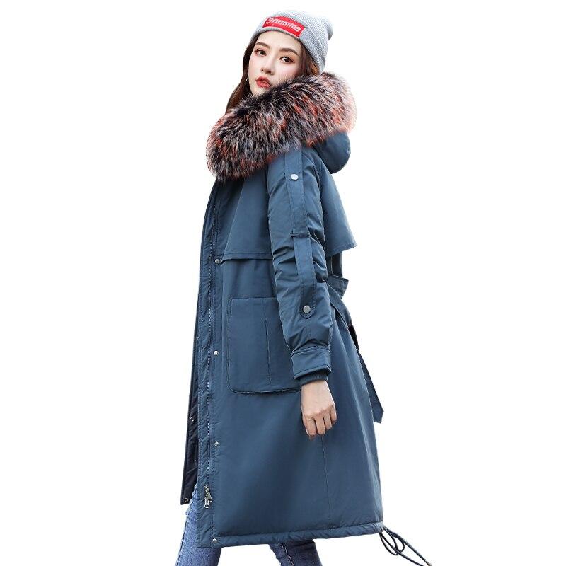 Зимние парки 2019 новые женские пальто с капюшоном с меховым воротником тонкие длинные толстые теплые зимние хлопковые парки зимние 30 градусов пальто куртка