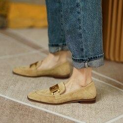Vrouwen Schoenen Echt Leer Flats Loafers Ronde Neus Schapen Suède Metalen Decor Slip-On Schoenen Dames Cozy Casual Schoenen 2021 Nieuwe
