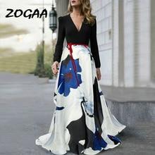 ZOGAA Women Sexy V Neck Autumn Long Evening Party Dress 2019 Fashion Long Sleeve Floral Print Elegant Maxi Dress Plus Size XXXL