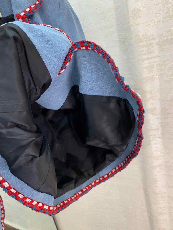 1.18 avrupa gelgit kontrast renk örgü turn-aşağı yaka Casual gevşek Patchwork nakış cep dekorasyon tasarım Denim ceket