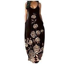 Women's Loose Casual Summer Print Pocket Sling Sleeveless Dress Fashion Vestir Robe Vestito Платье Kleid Falda Larga Size S-XXXL