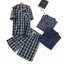 100% cotton material  Cotton Pajama Men Mens Sleep Wear Sets 1302