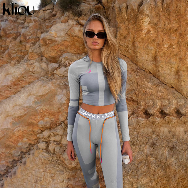 Kliou women fitness two pieces set tracksuit long sleeve crop top letters print elastic skinny leggings sportswear slim outfit