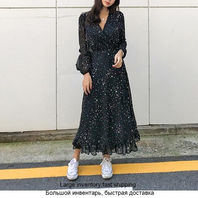 Элегантное шифоновое женское длинное платье с оборками, весеннее сексуальное платье макси со звездным принтом и V образным вырезом, вечернее празднивечерние женское платье, платья