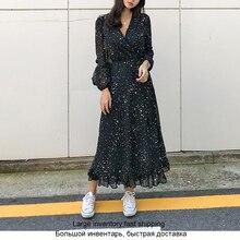 Elegant Rufflesชีฟองผู้หญิงชุดยาวพิมพ์ฤดูใบไม้ผลิเซ็กซี่VคอSashes MaxiชุดราตรีVestidosหญิงชุด