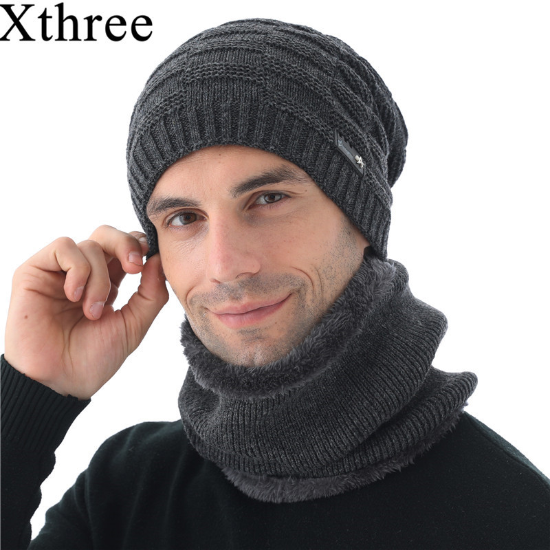 Xthree Winter Skullies Hat Wool Beanies Knitted Hat Scarf With Lining Male Gorras Bonnet Winter Hats For Men Beanies Hats