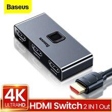 Baseus 4K 60Hz مقسم الوصلات البينية متعددة الوسائط وعالية الوضوح (HDMI) 2 منافذ ثنائية الاتجاه HDMI الجلاد 1x 2/2x1 محول 2 في 1 خارج محول HDMI التبديل ل PS4 TV BOX