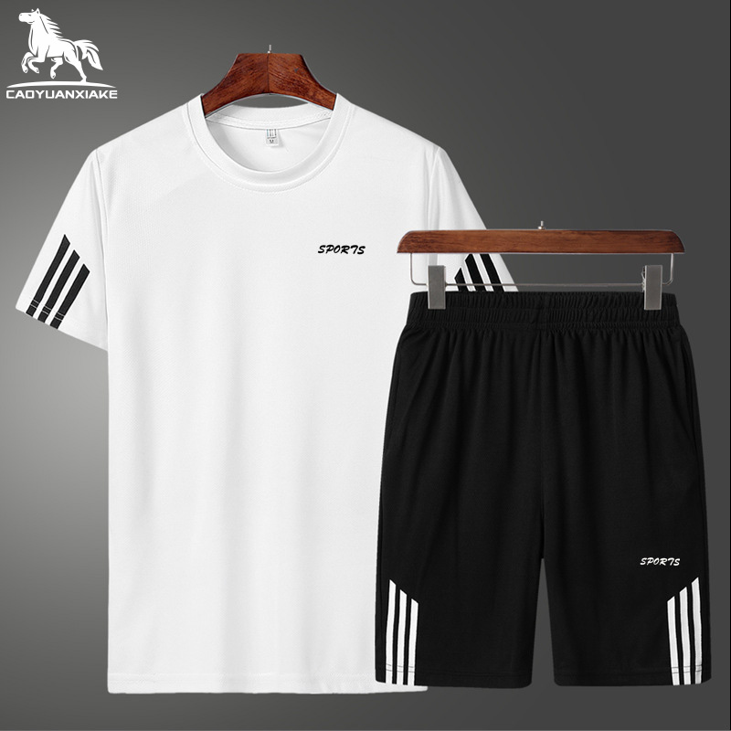 Fashion Brand Set Men's Clothing Summer New 2-piece Tracksuit Short Sweatshirt+shorts Sets Beach Mens Casual Shirts Tracksuits