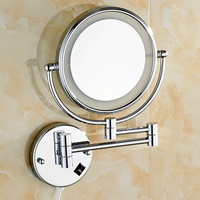 Led Makeup Mirror With Light Folding Wall Vanity Mirror 3x Magnifying Double Sided Adjustable Bright Bathroom Cosmetic Mirrors