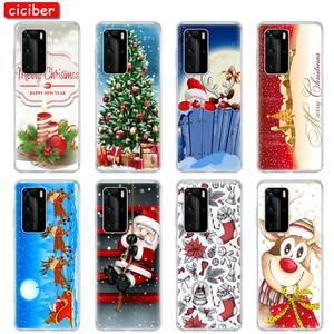 Рождественский Подарочный Чехол-Карета для Huawei P40 P30 P20 P10 Pro Lite Mate 30 20 Honor 20 10 Lite Pro P Smart Plus 2019, мягкая задняя крышка из ТПУ