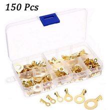 150 pçs/pçs/set anel tipo ouro terminais de bronze dourado não-isolado terminais de friso conectores de fio de cabo