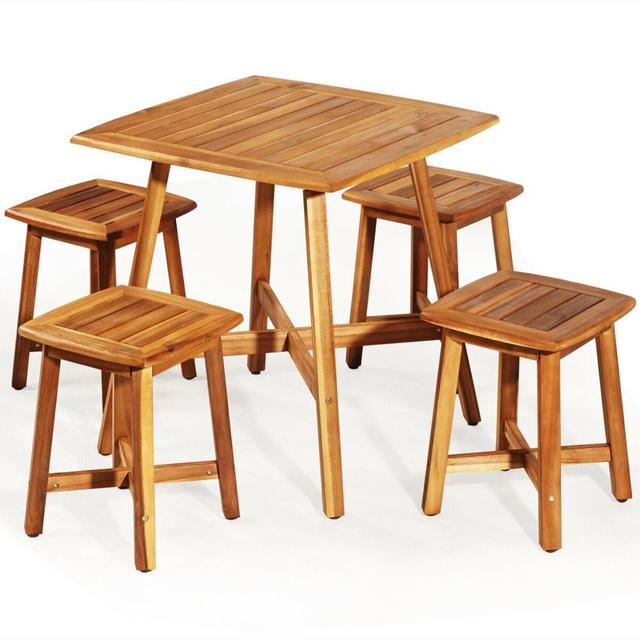 5PCS Acacia Patio Table & 4 Stools  1