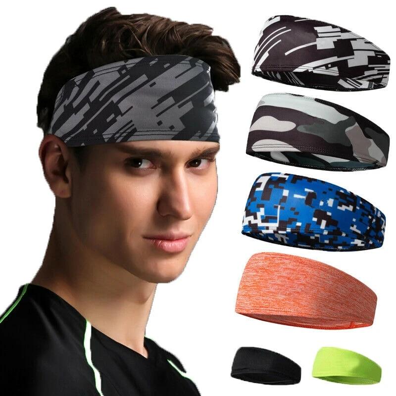 3X Male Moisture Wicking Wide Non-Slip Sport Headband Sweatband Gym Workout Run