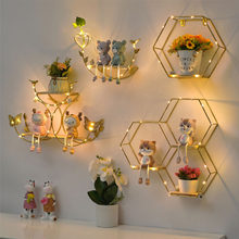 Nordic Creative Non Perforated Decorative Pendant Wall Decoration Living Room Milk Tea Shop Hydroponic Wall Hanging Wall Shelf