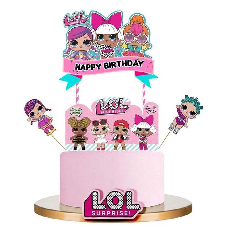 Decorações da festa de aniversário crianças tema LOL bonecas DIY Decoração Suprimentos Chapa Xícara Colher Presentes de casamento bolo topper