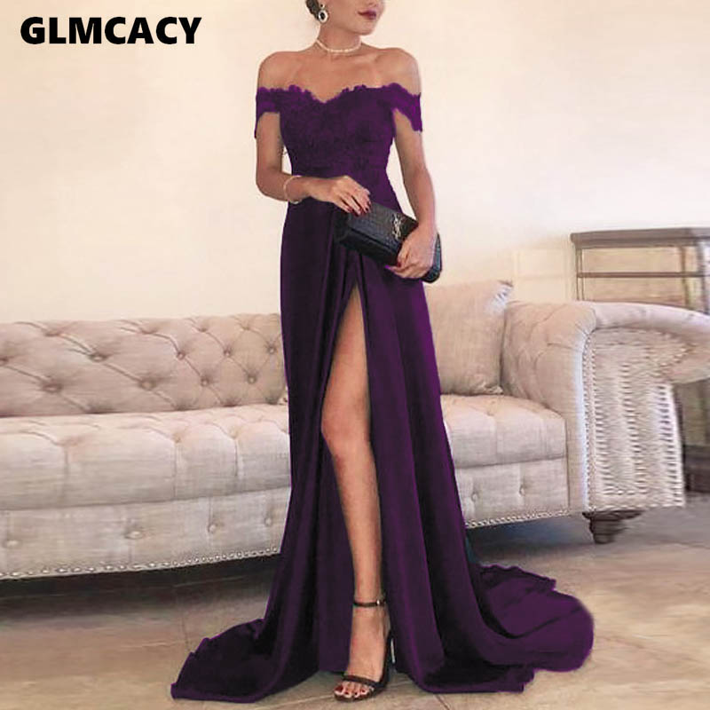 Women Sexy Slash Neck Lace Asymmetrical Party Dress Elegant Solid Off The Shoulder Short Sleeve Floor-length Dress
