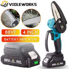 4 Inch 1200W 88V Mini Electric Chain Saw With Battery Indicator Rechargeable Woodworking Tool For Makita 18V Battery EU Plug