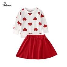 Г. Весенне-осенняя одежда для малышей Одежда на День святого Валентина для маленьких девочек топы с сердечками, футболка, платье, юбка комплекты из 2 предметов, От 1 до 6 лет