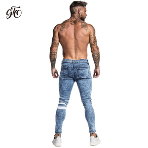 Image 5 - Gingtto Skinny Jeans Men Slim Fit Ripped Mens Jeans Big and Tall Stretch Blue Men Jeans for Men Distressed Elastic Waist zm49