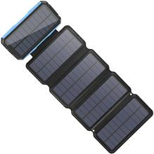 Solar Charger 26800mAh, Portable 5 Panel 7.5W High Efficiency Power Bank With Ultra Bright 60-LED Panel Light and Flashlight