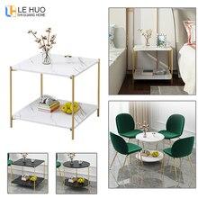 Двухслойный журнальный столик с мраморной текстурой и деревом, столик для гостиной и дивана, маленький обеденный стол, маленький столик, мебель для дома
