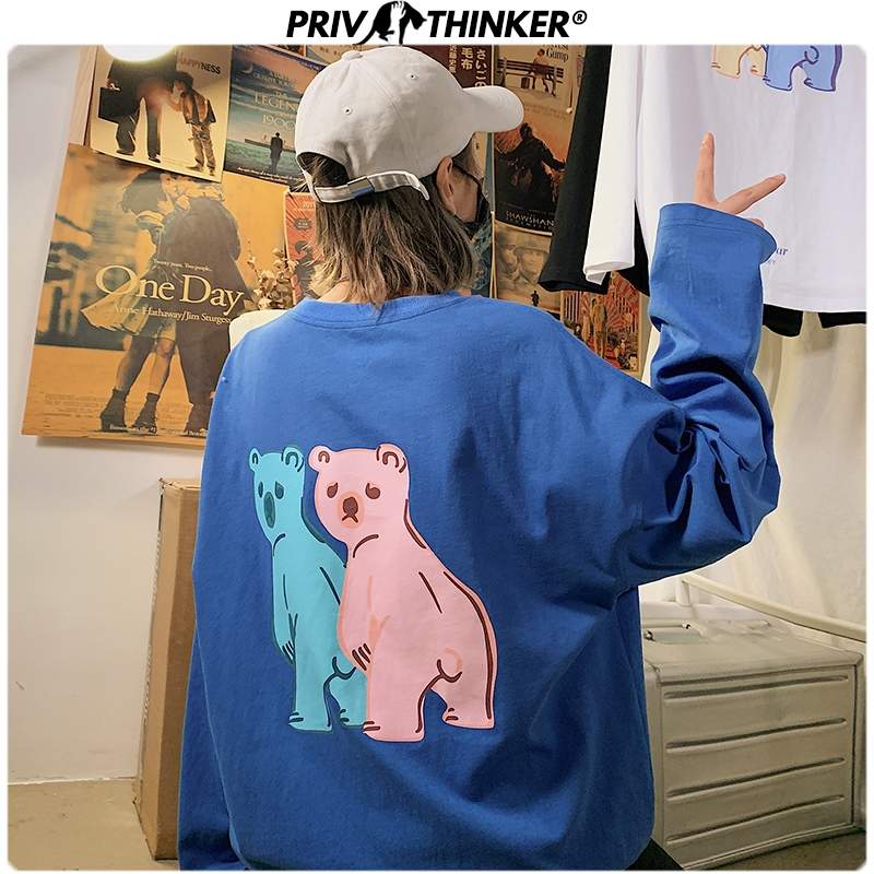 Privathinker Men Woman Teddy Carton Bear Print Spring Hoodies Men 2020 Fashion O-Neck Sweatshirt Male Streetwear Clothing 5XL