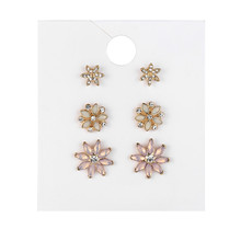 3Pairs/Set Fashion Boho Alloy Gold Color Cute Colorful Crystal Flowers Stud Earings Sets For Women Girls Statement Ears Jewelry