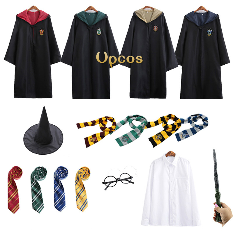 Harry Potter Robe Cape Cosplay Suit Tie Scarf Wand Gryffindor Hufflepuff Costume
