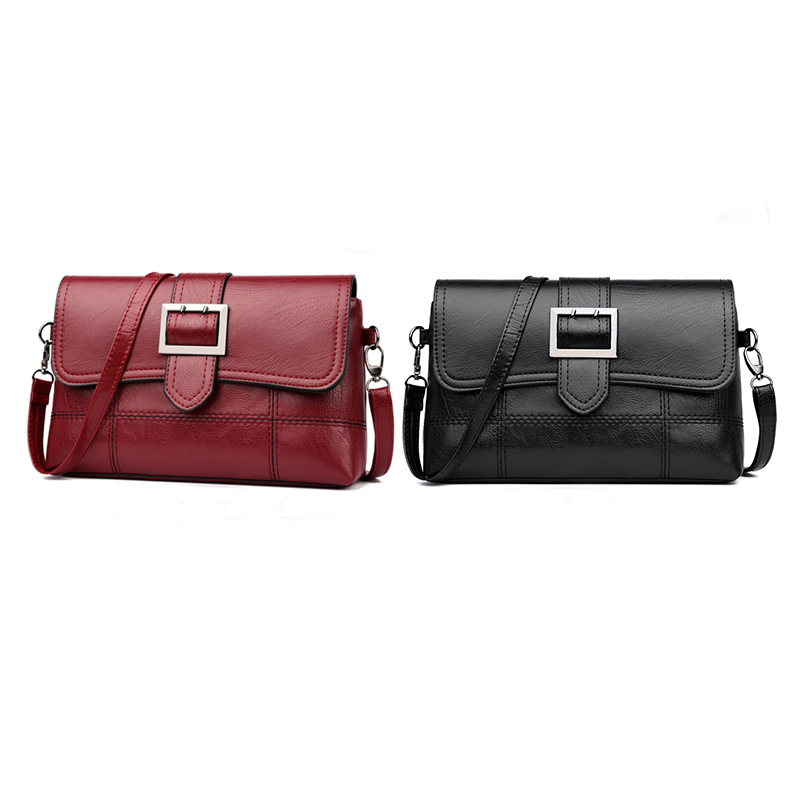 2pcs Designer Women Shoulder Bag Fashion Handbag And Purse Pu Leather Crossbody Bags For Women New - Black & Red